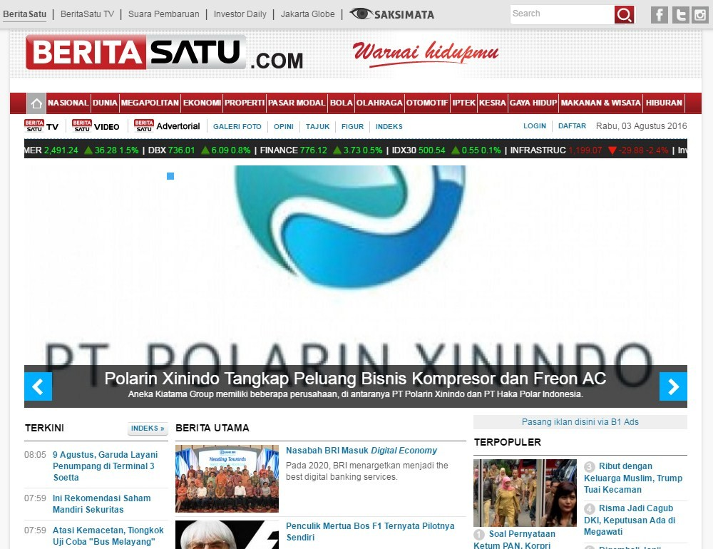 Screenshot Advertorial di Homepage Beritasatu.com