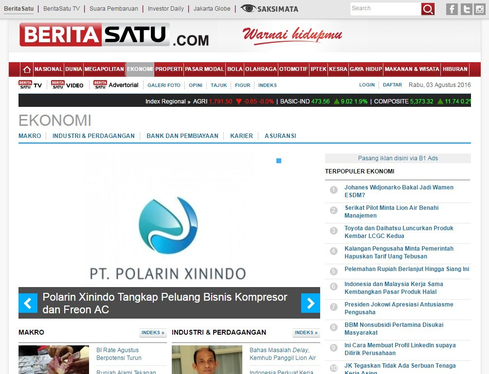 Screenshot Advertorial di Kanal Ekonomi Beritasatu.com